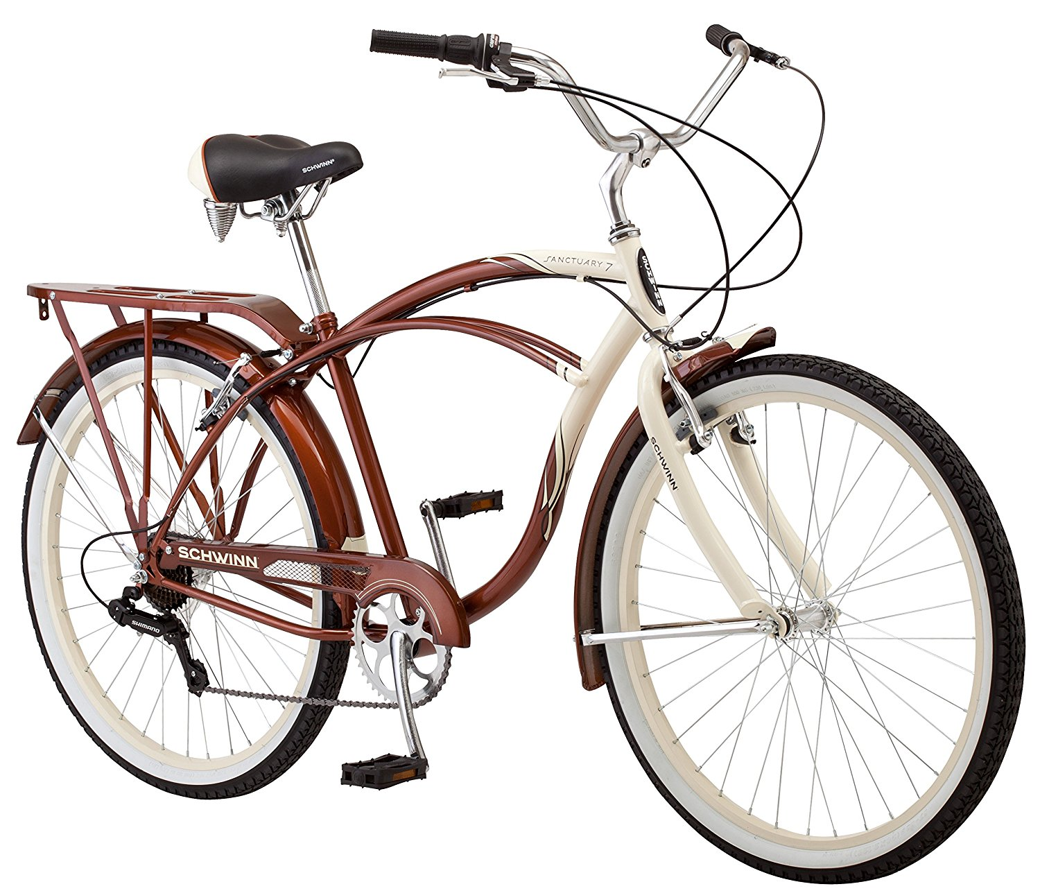 Schwinn Mens Sanctuary 7-Speed Cruiser Bicycle Cream/Copper 26-Inch Wheels